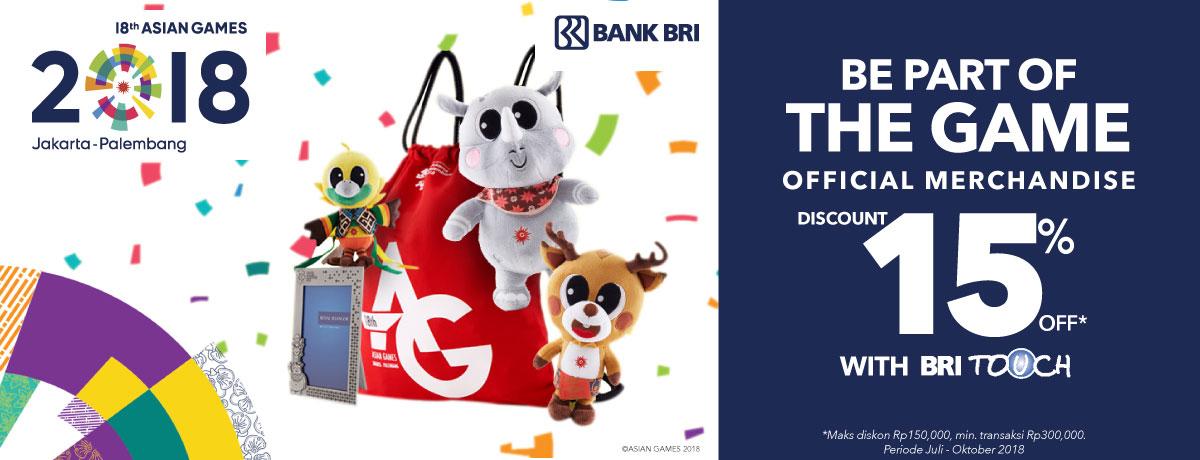Blibli Promo Beli Merchandise Asian Games 2018 Dengan BRI Touch, Diskon 15%