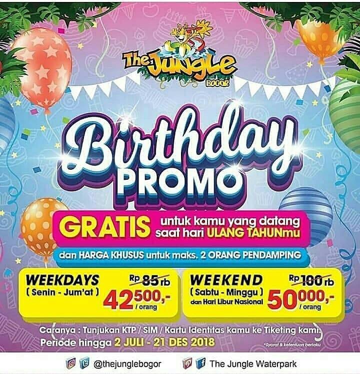 The Jungle Bogor Promo Spesial Ulang Tahun Edisi Agustus! Berenang Sepuasnya GRATIS