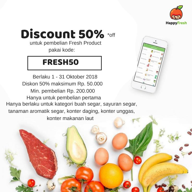 Beli Buah, Sayur, Daging, Unggas di Happy Fresh HEMAT 50% OFF
