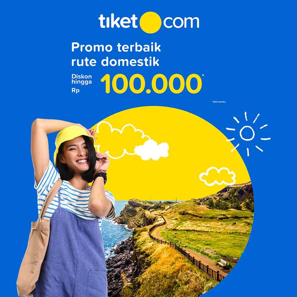 Tiket(dot)com Promo Pesawat Rute Domestik - Diskon Hingga Rp.100 Ribu!