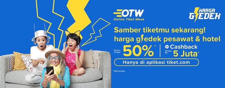 Tiket(dot)com Promo Online Tiket Week - Diskon Hingga 50% + Cashback Hingga Rp. 5 Juta!