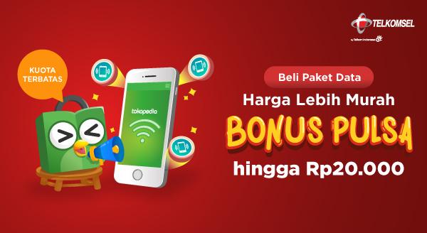 Tokopedia Promo Paket Data Telkomsel, Bonus Pulsa Hingga Rp 20 Ribu