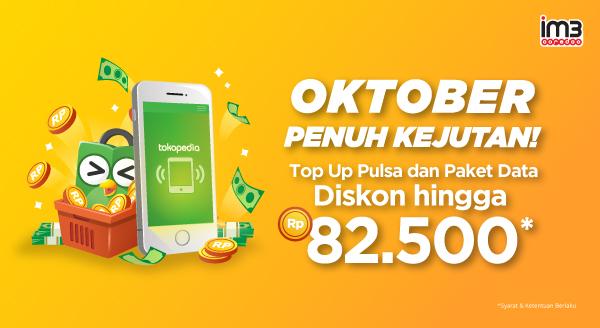 Tokopedia Promo Top Up Pulsa & Paket Data Indosat , Diskon Hingga Rp 82.500