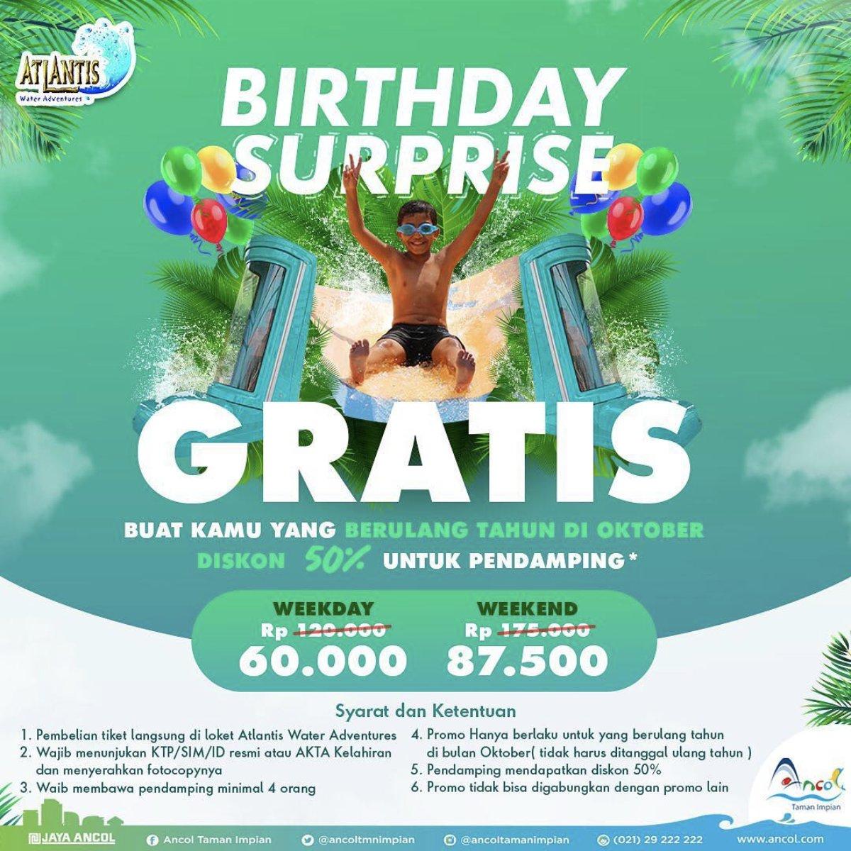 Atlantis Water Adventure Promo Birthday Surprise, Berenang Sepuasnya GRATIS Selama Oktober