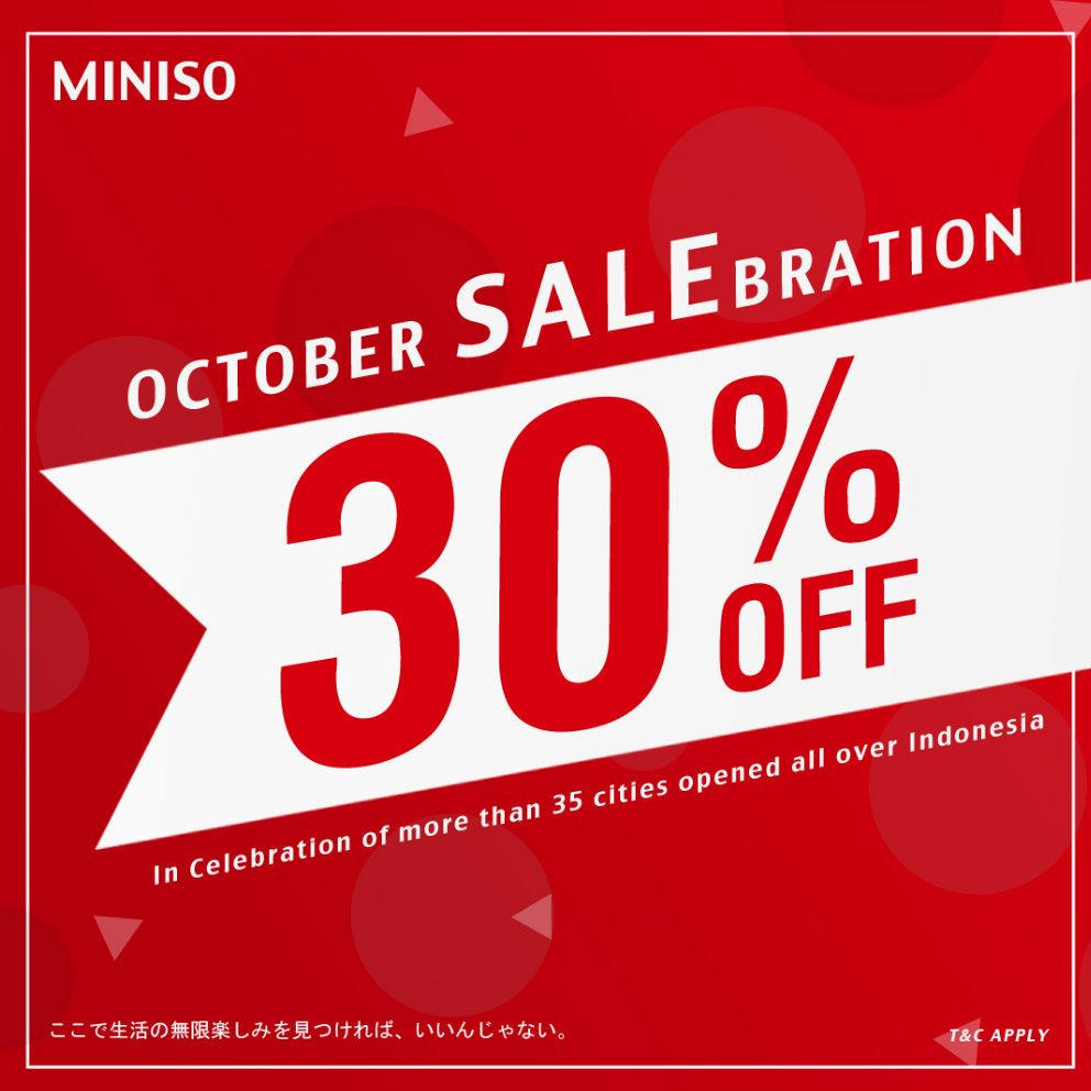 Miniso Promo October Salebration! Diskon 30%