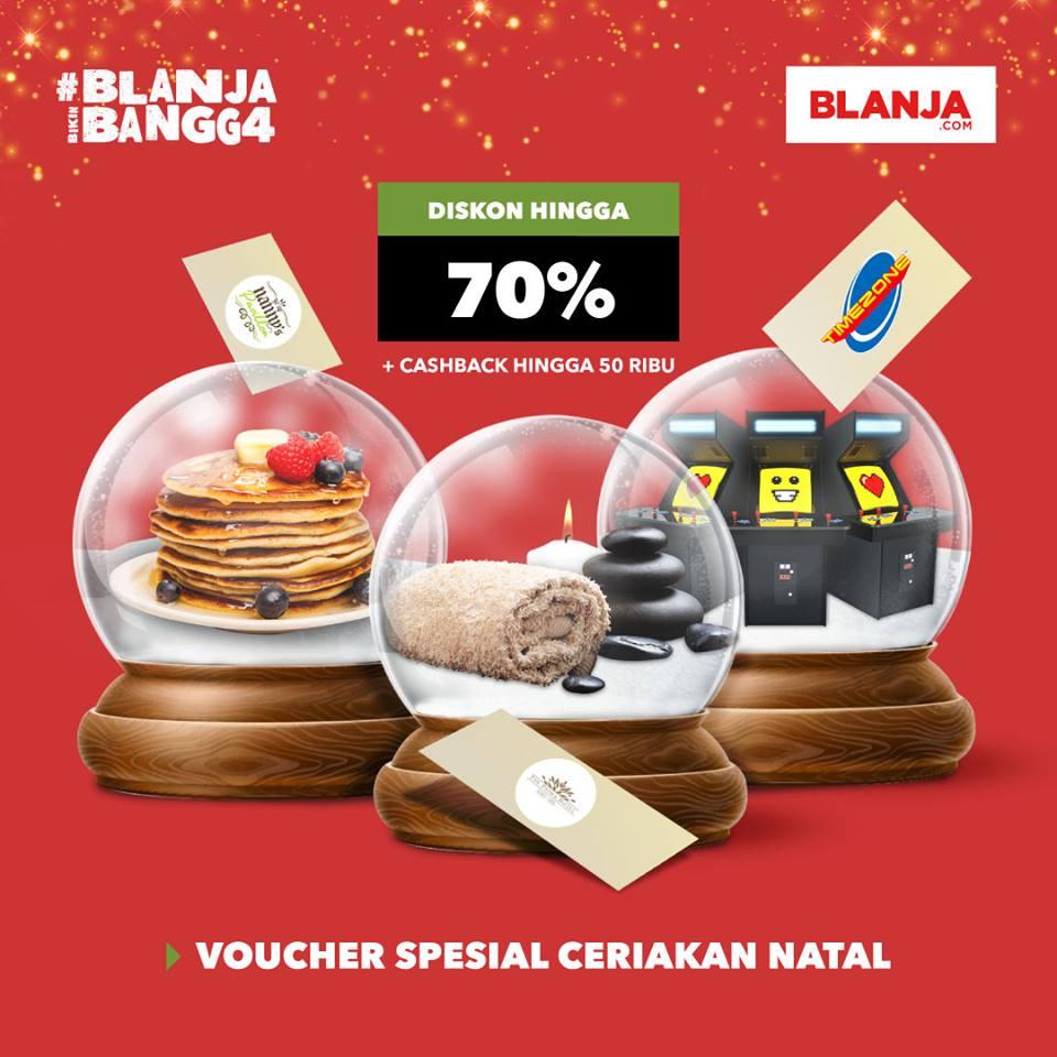 Blanja Promo Voucher Spesial Natal - Diskon Heboh Hingga 70% + Cashback Rp. 50 Ribu!