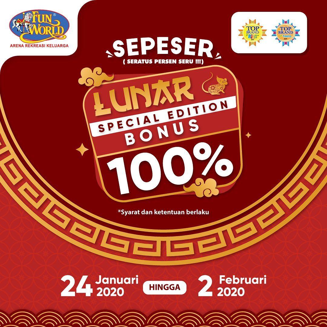 Fun World Promo Imlek Sepeser, Bonus 100% Setiap Top Up!