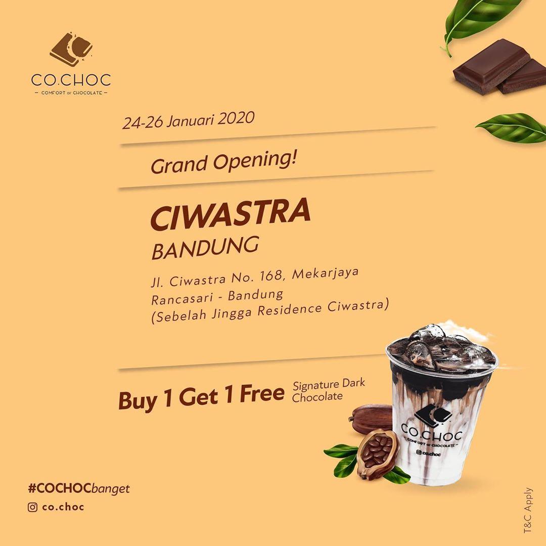 Co.Choc Promo Grand Opening Ciwastra, Buy 1 Get 1 Free!