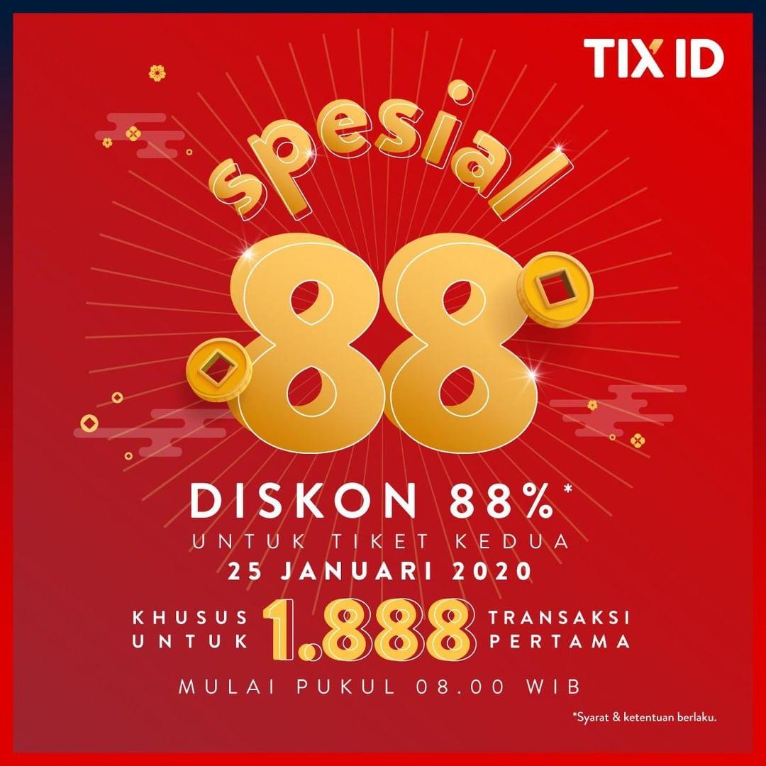 TIX ID Promo Spesial Hoki 88, Tiket Kedua Diskon 88%!