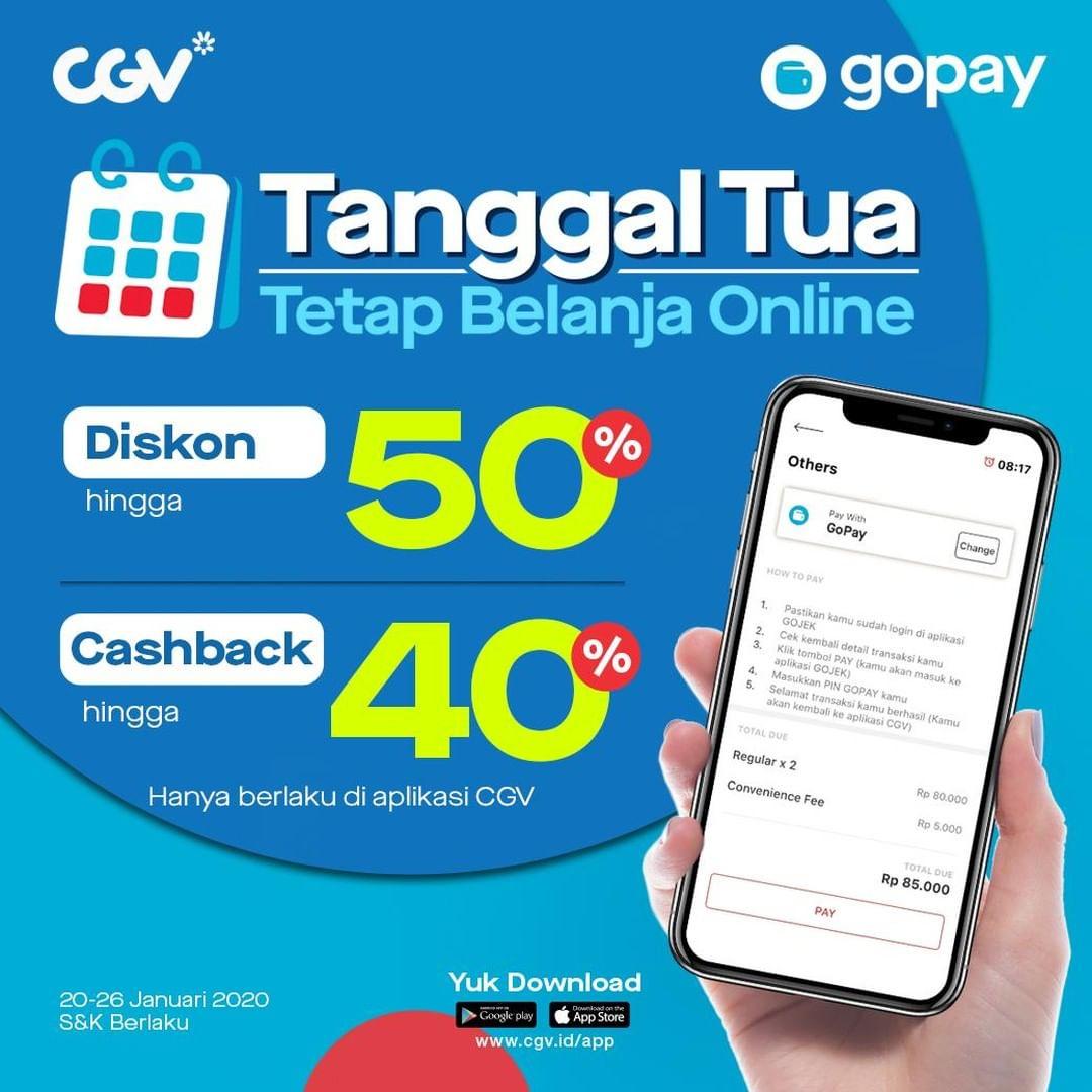 CGV Promo Nomat di Tanggal Tua, Udah Diskon Dapat Cashback Juga!