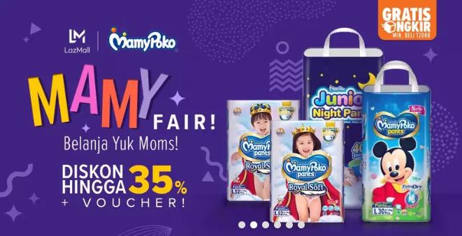 Lazada Promo Mamy Poko Baby Fair, Diskon Hingga 35% + Voucher