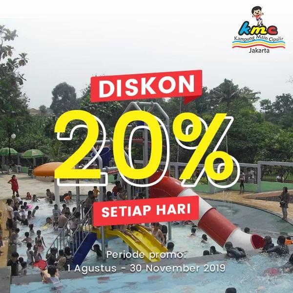 Promo Kampung Main Air Cipulir Spesial GD+, Berenang Sepuasnya Diskon 20%