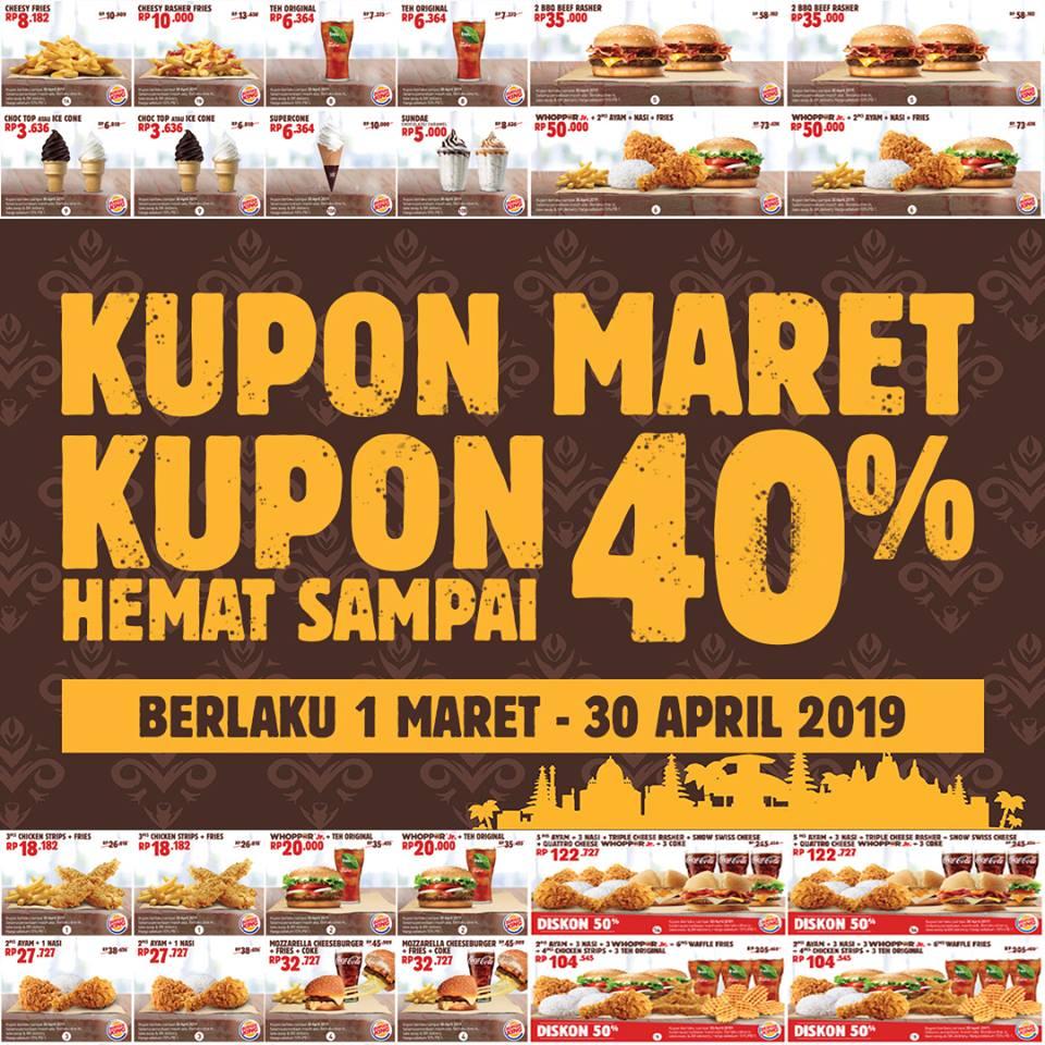 Burger King Promo Kupon Edisi Maret, Diskon Hingga 50%