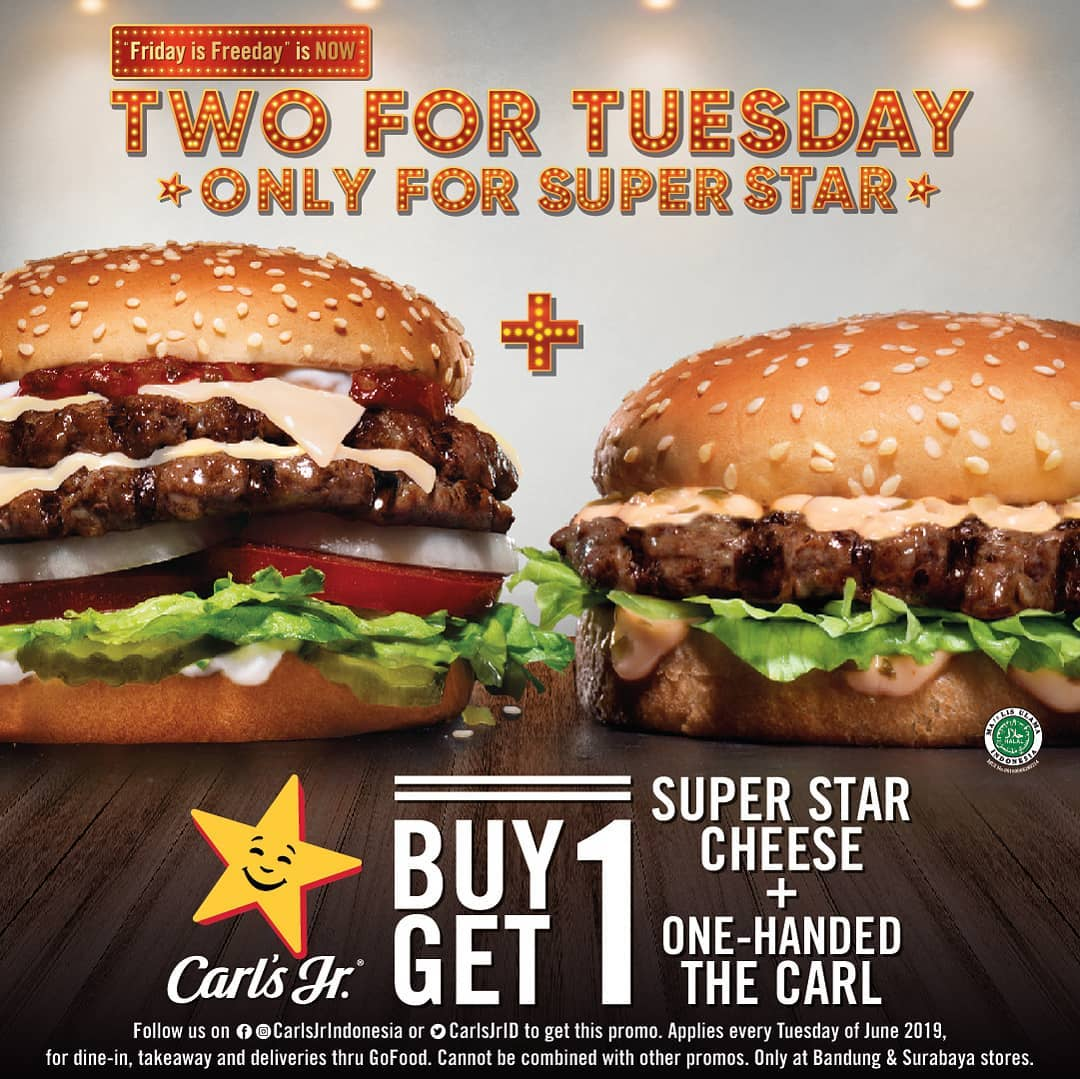 Carls Jr Promo Two For Tuesday, Buy 1 Get 1 Free!