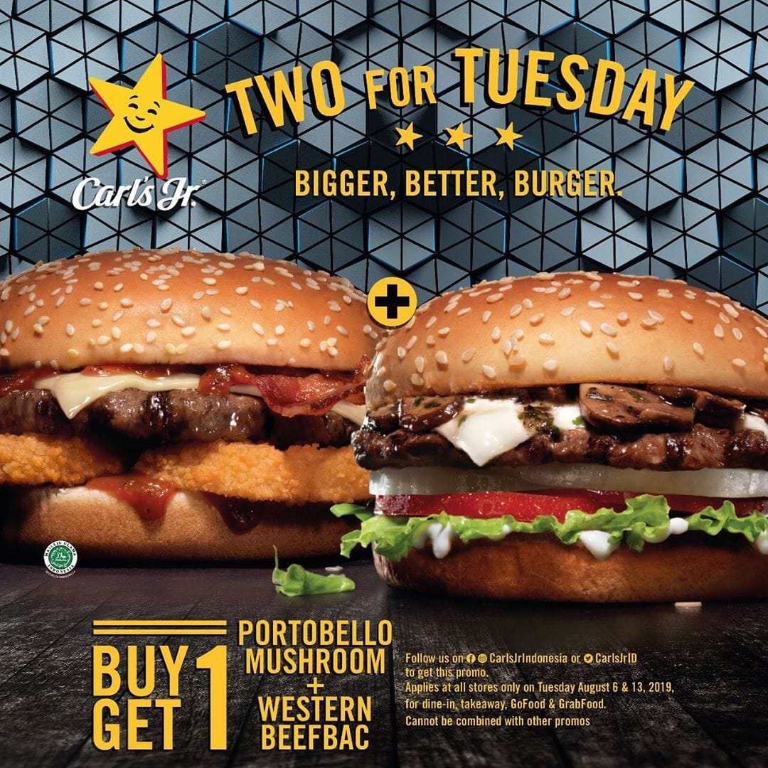 Carls Jr Promo Two For Tuesday, Buy 1 Get 1 Freeee!!!