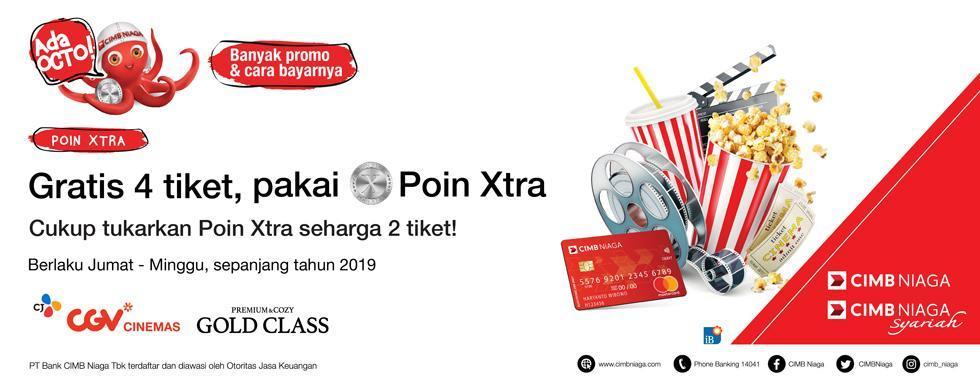 CGV Cinema Promo Poin Xtra CIMB NIAGA, Gratis 1 Tiket Nonton