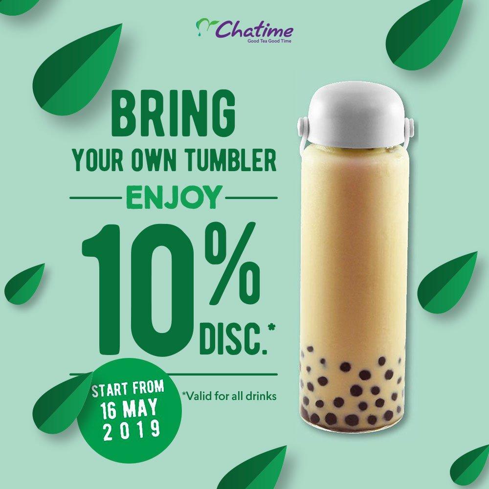 Chatime Promo Bring Your Own Tumbler, Diskon 10%