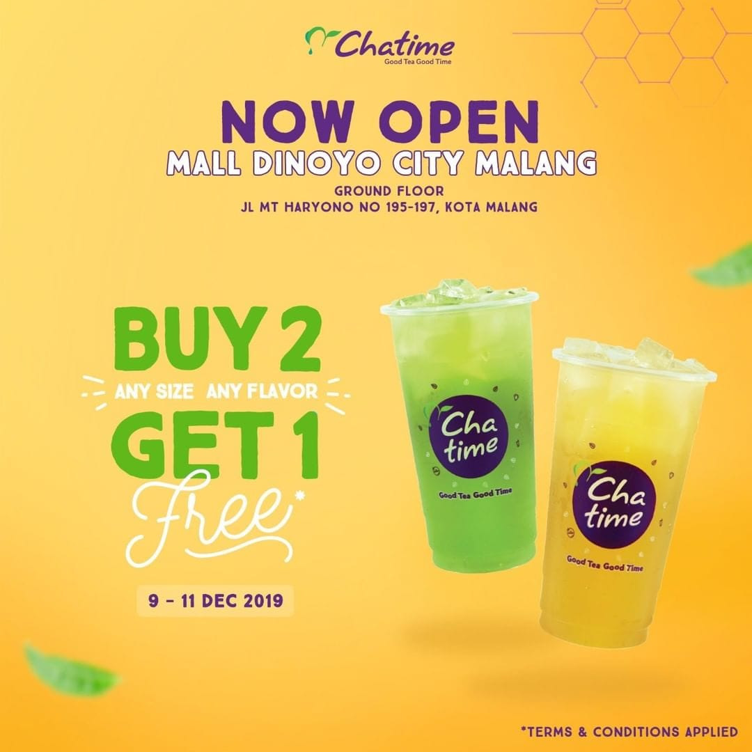 Chatime Promo Spesial Soft Opening Di Malang, Buy 2 Get 1 Free!