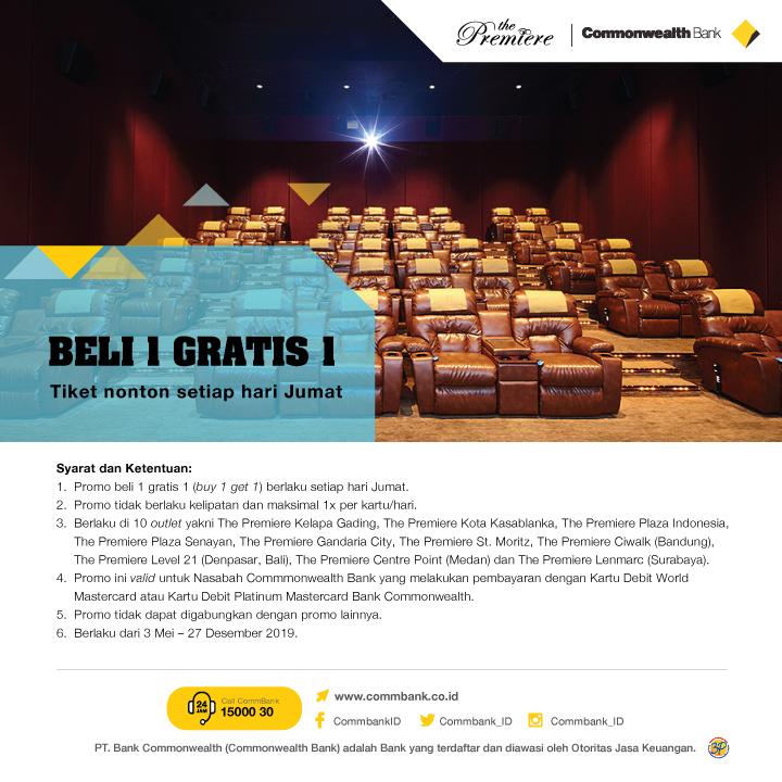 Cinema XXI Promo Commonwealth Bank, Buy 1 Get 1 Free!