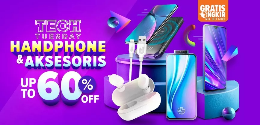 Lazada Promo Tech Tuesday, Handphone & Aksesoris Hemat Hingga 60%