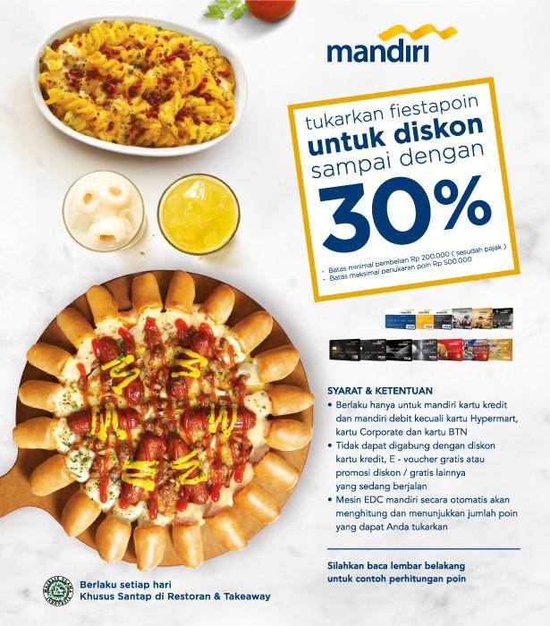 Pizza Hut Promo Fiestapoin Mandiri, Tukar Poin Diskon Hingga 30%