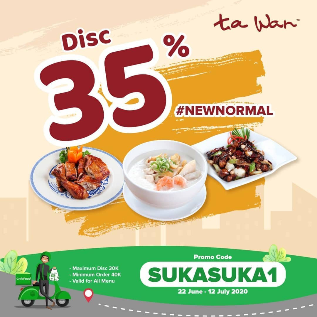 Ta Wan Promo Spesial GrabFood, Diskon 35%!
