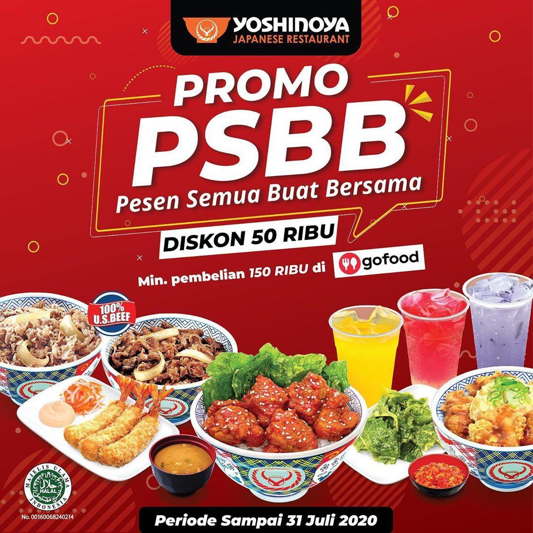 Yoshinoya Promo PSBB Gofood, Diskon 50.000!