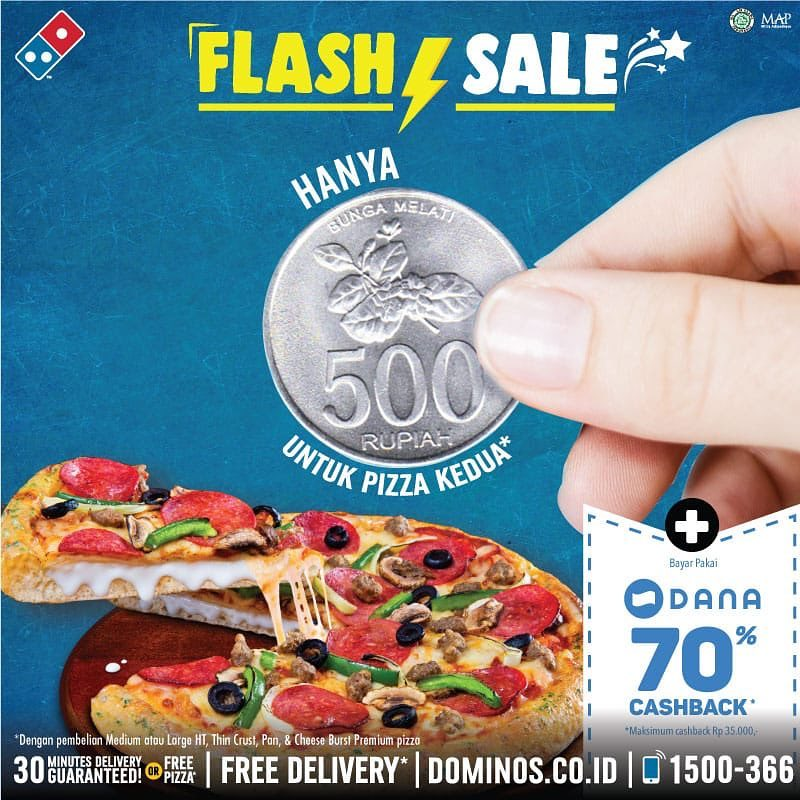 Dominos Pizza Promo FLASH SALE, Beli Pizza Cuma Rp. 500