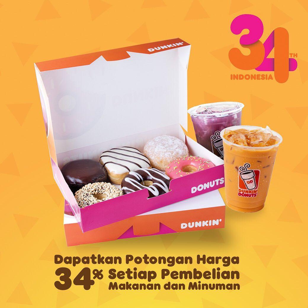 Dunkin Donuts Promo Spesial Ulang Tahun, Diskon 34%