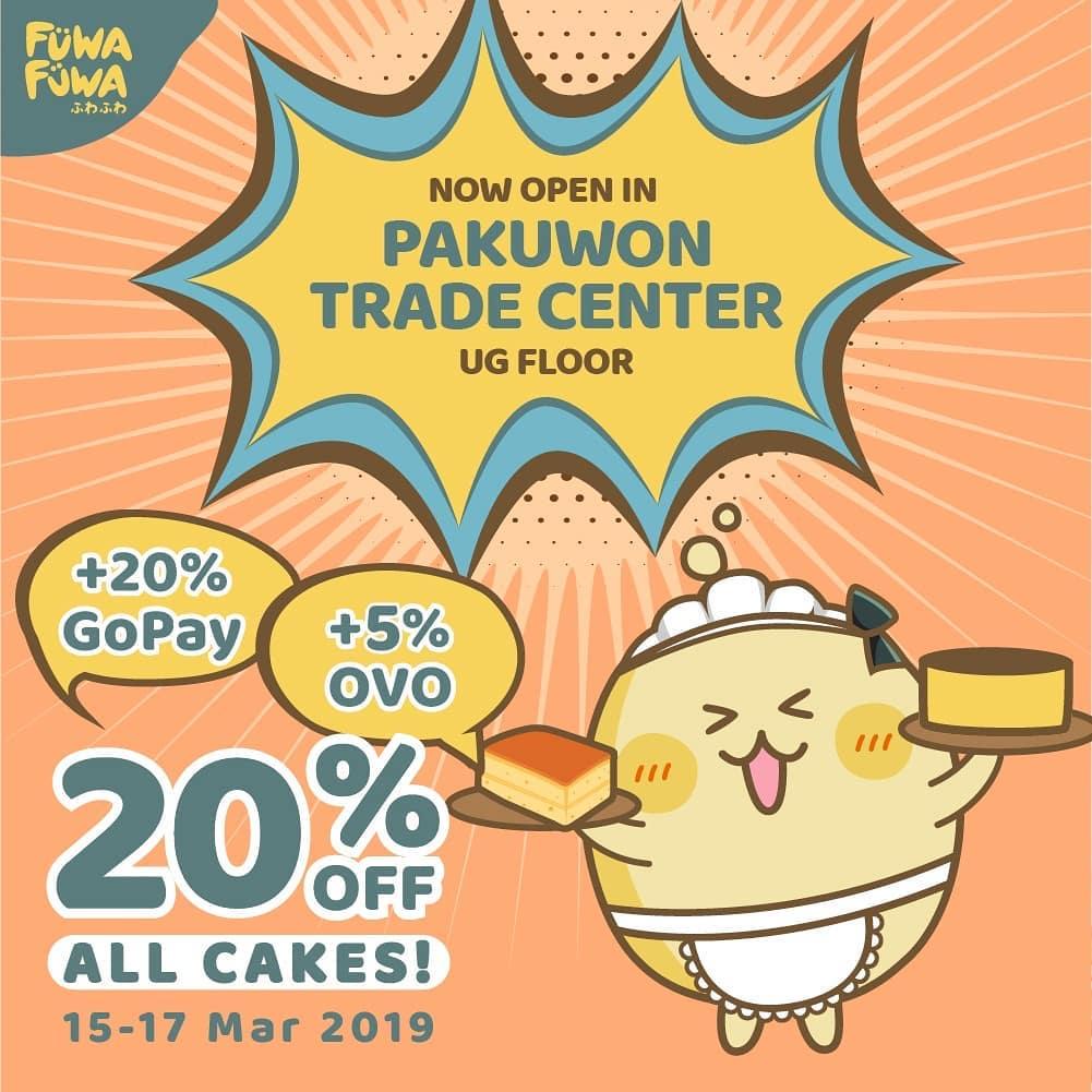 Fuwa Fuwa Cake Promo Opening Store, Diskon 20% All Cake + Diskon Ekstra 20% + 5%