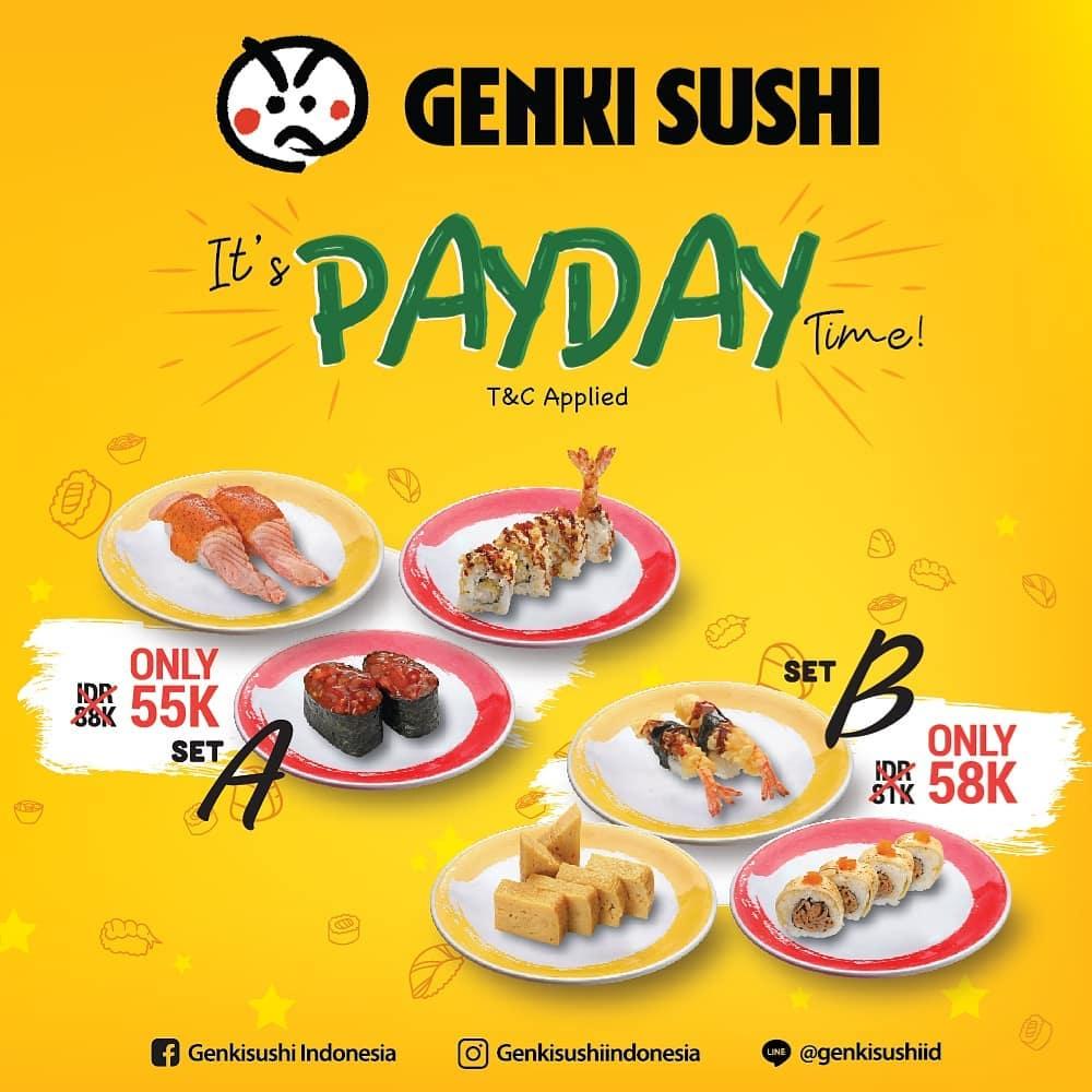 Genki Sushi Promo Spesial PAYDAY, Harga Mulai Rp. 55 Ribu