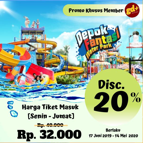 Depok Fantasy Waterpark Promo Spesial GD+, Diskon 20% Tiket Masuk [Senin - Jumat]