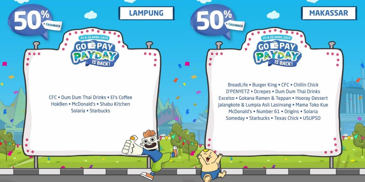 Gopay Payday Promo Spesial Cashback 50% Di Lampung Dan Makassar