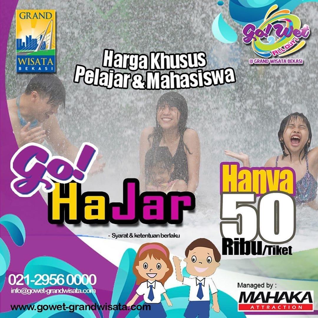 Go Wet Waterpark Promo Go Hajar (Harga Khusu Pelajar), HTM Cuma Rp. 50.000!