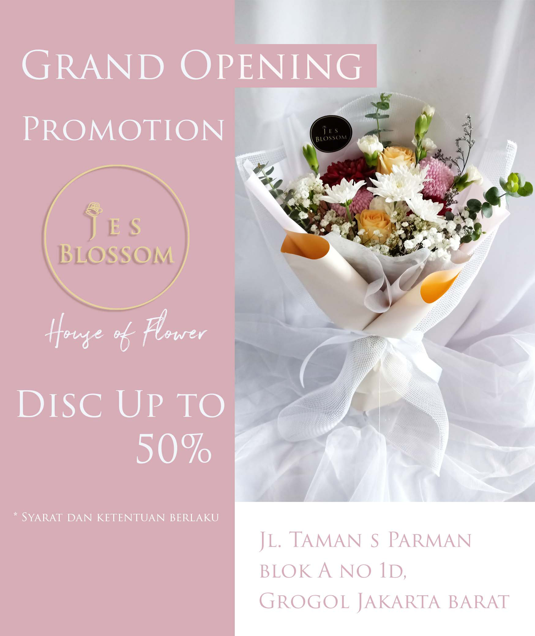Jes Blossom Korean Bouquet Promo Discount Up To 50%