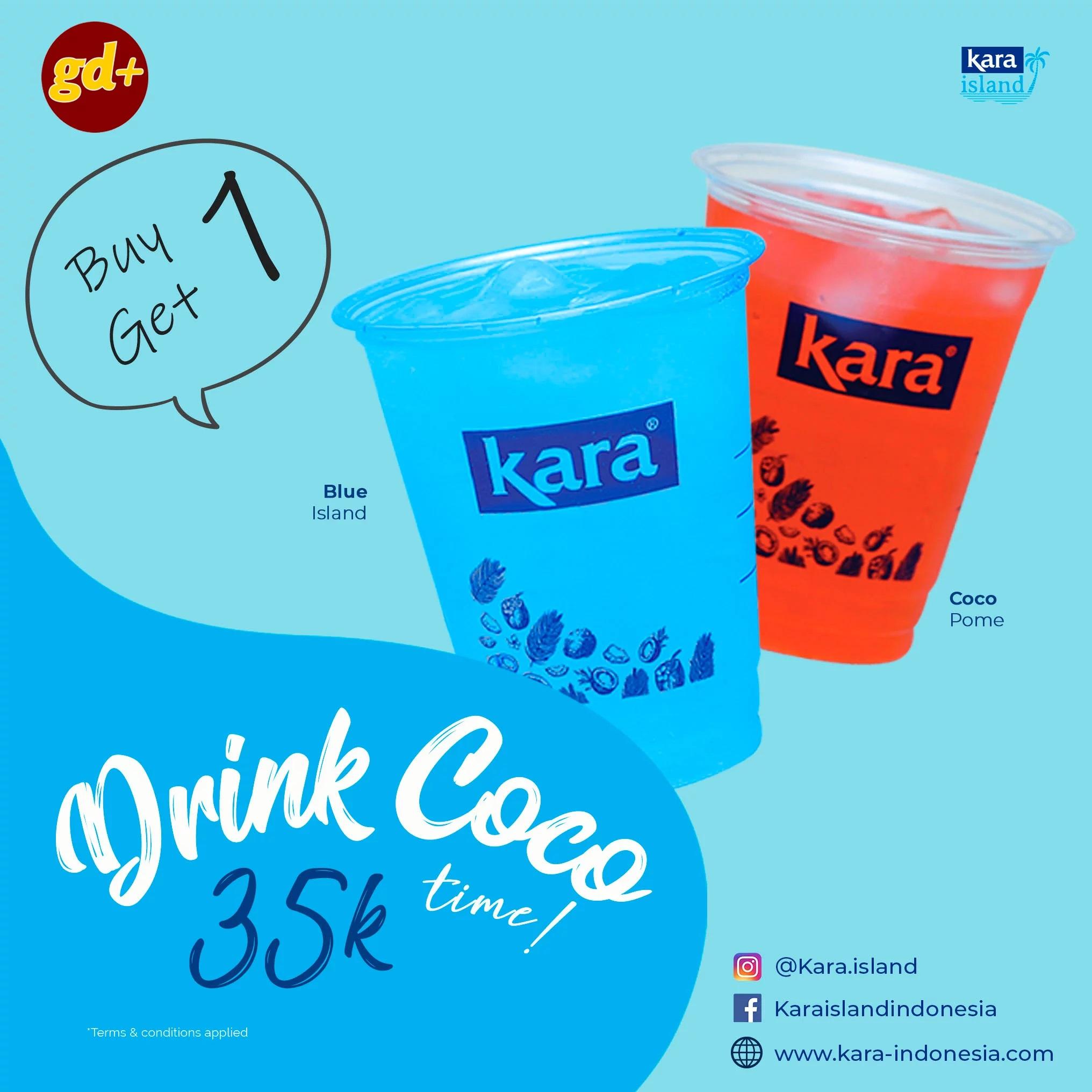 Promo Kara Island Spesial GD+, BUY 1 GET 1 FREE Minuman Segar Drink Coco