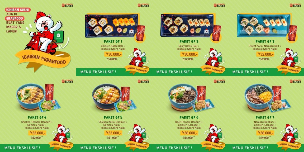 Ichiban Sushi Promo Menu Hemat Mulai Dari Rp. 30 Ribuan Khusus GRABFOOD!