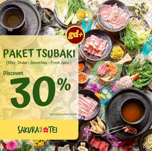 Sakura Tei Promo Spesial GD+, Diskon 30% All You Can Eat & Drink Paket Tsubaki