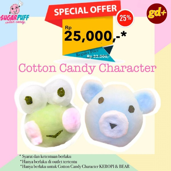 Promo Sugarpuff Cottoncandy Spesial GD+, Cotton candy Character cuma Rp. 25.000