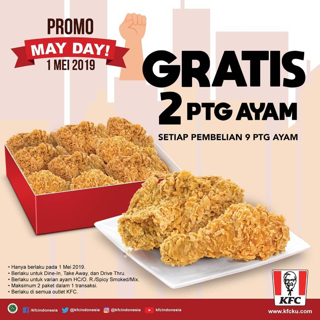 KFC Promo Spesial MAYDAY, Gratis 2 Potong Ayam