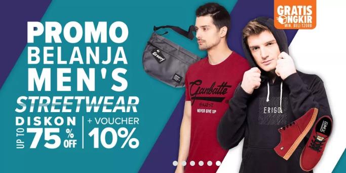 Lazada Men's Streetwear, DISKON Sampai Dengan 75%