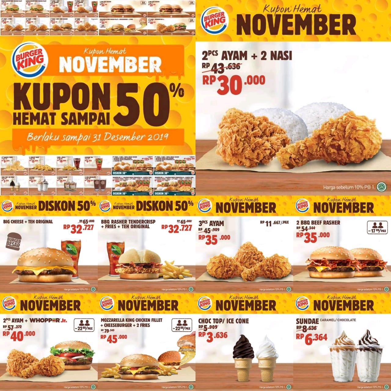 Burger King Promo Kupon BK November, Diskon Hingga 50%
