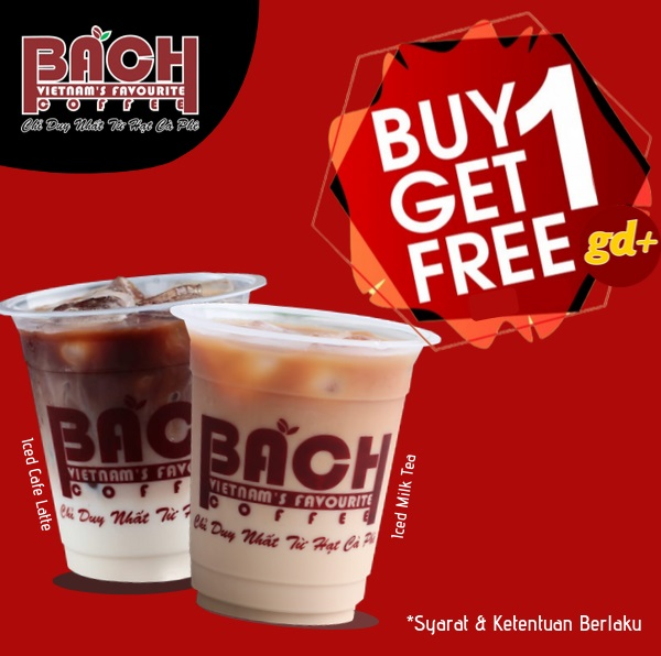 Promo Bach Coffee Spesial GD+, Buy 1 Get 1 FREE Iced Cafe Latte atau Iced Milk Tea