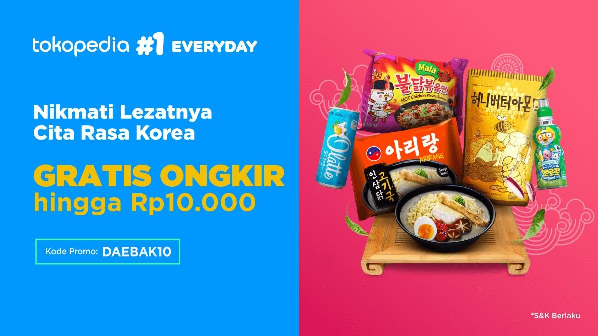 Tokopedia Promo Berbagai Makanan Korea Dengan Harga Spesial, Diskon Mulai 50% + Gratis Ongkir