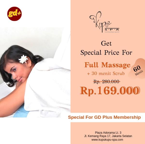 Promo Kupu Kupu Spa Full Massage Treatment dan Scrub Special Price Untuk Member GD Plus