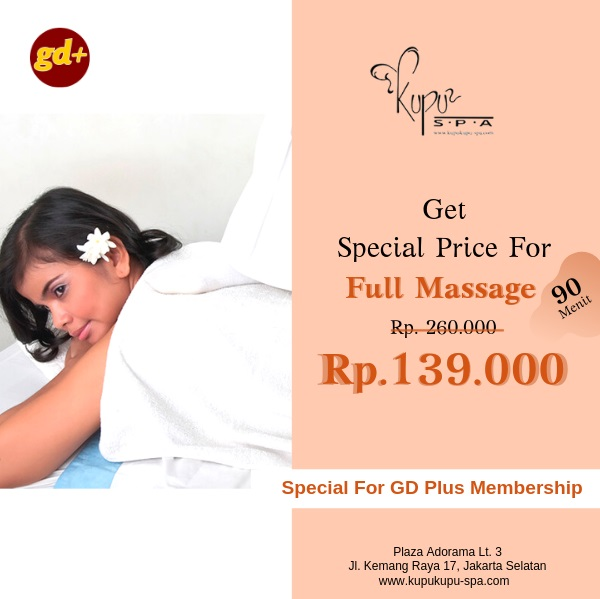 Promo Kupu Kupu Spa Full Massage Treatment 90 Menit Special Price