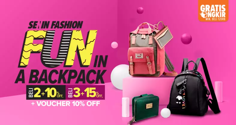 Lazada Promo Senin Fashion, Backpack Diskon Hingga 15%