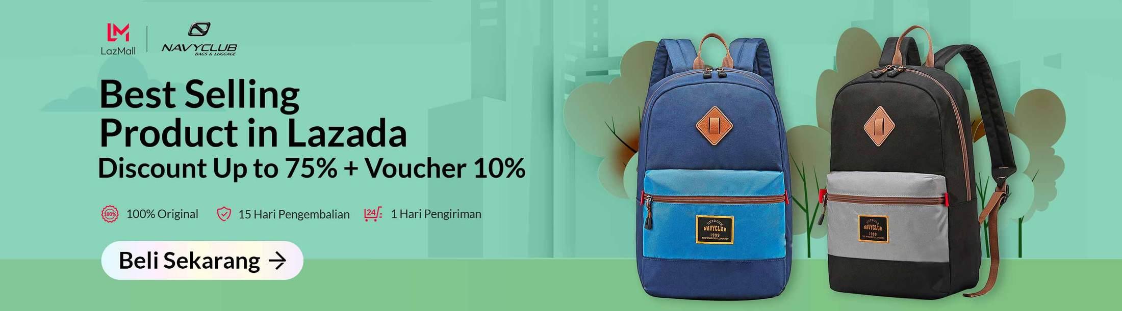 Lazada Promo Navyclub Bags & Luggage, Diskon Hingga 75%