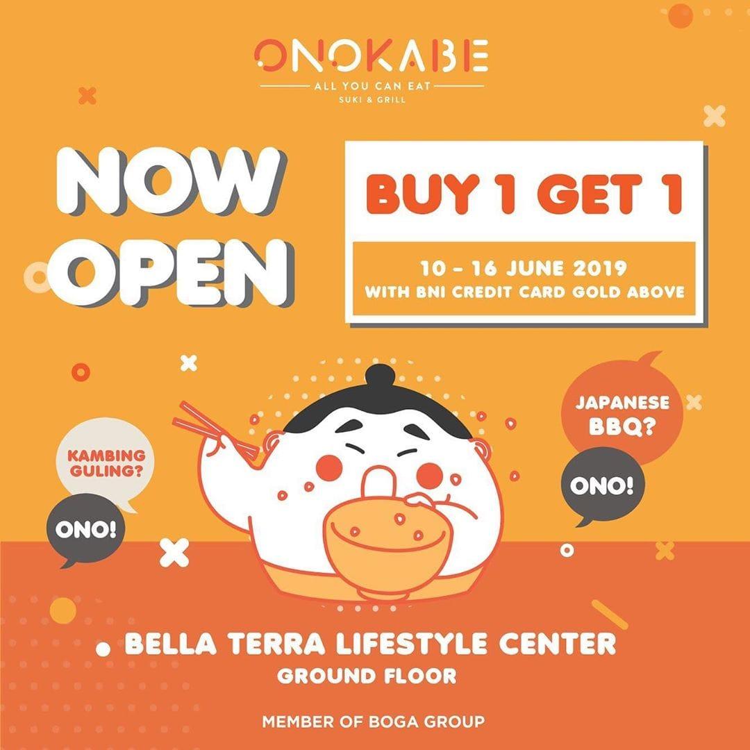 Onokabe Promo Spesial GRAND OPENING, Beli 1 Gratis 1