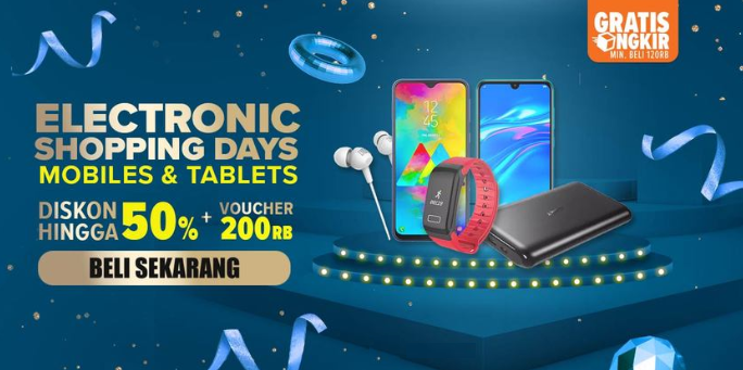 Lazada Electronic Shopping Days DISKON s.d 50%+Voucher 200Rb
